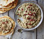 Baba ghanoush with dukka and flatbreads