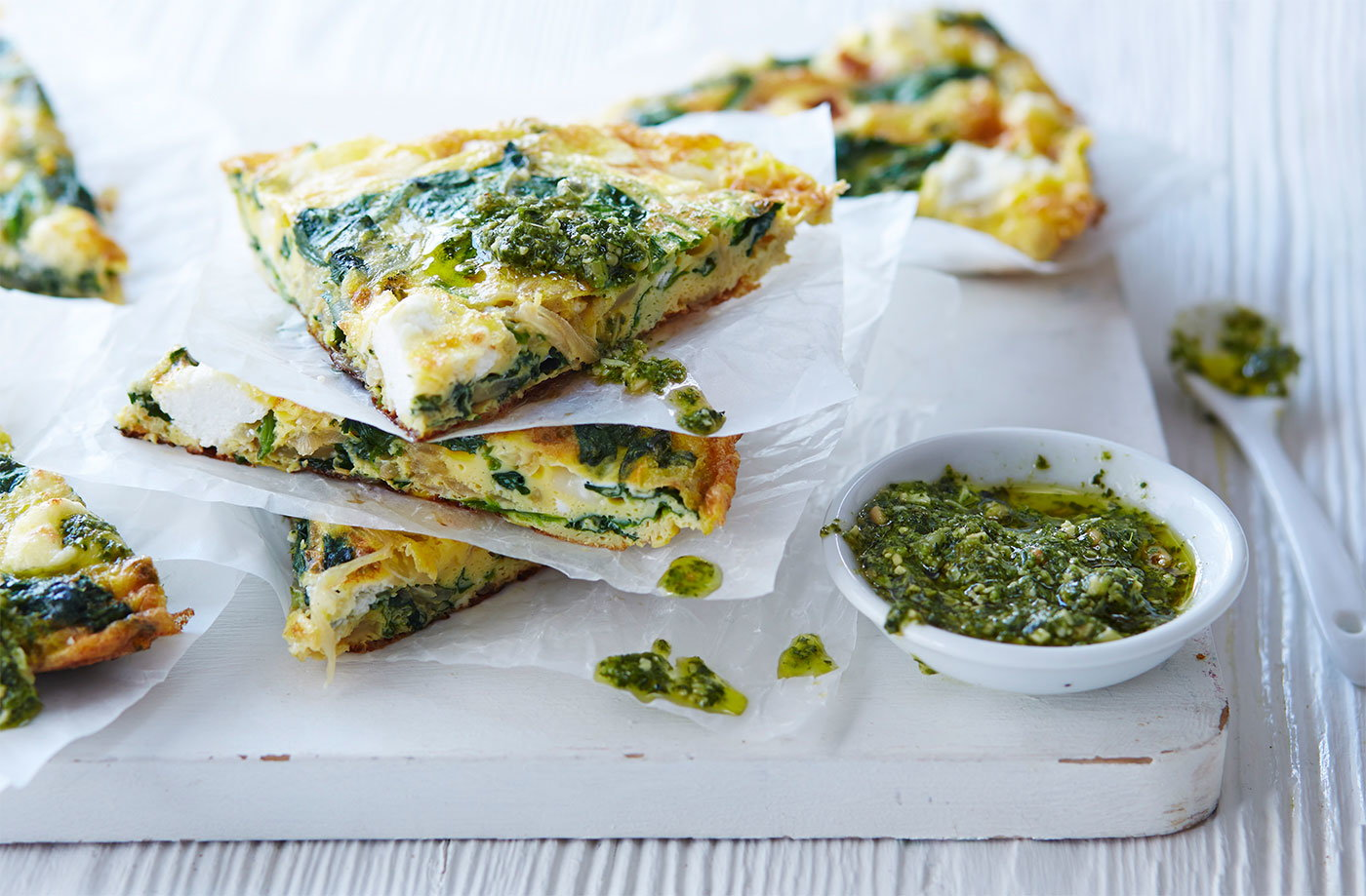 Spinach, pesto and goat's cheese frittata | Tesco Real Food