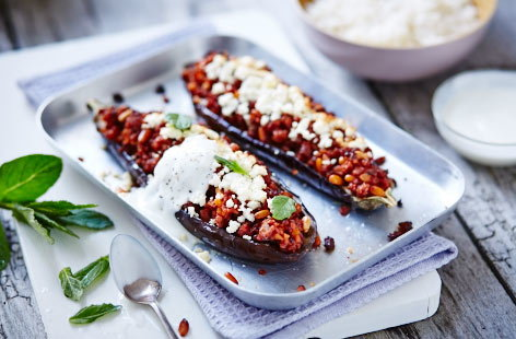 Leftover pork stuffed aubergines