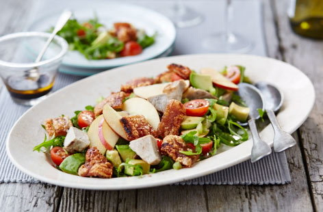 Leftover pork and apple salad with crackling