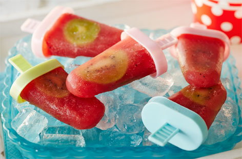Watermelon, kiwi and lime ice lollies
