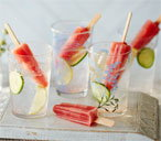 Watermelon and cucumber lollies