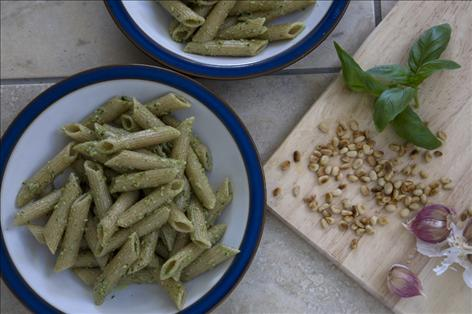 Wheat & dairy-free pesto pasta