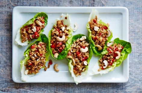 Leftover spicy pork and lettuce cups