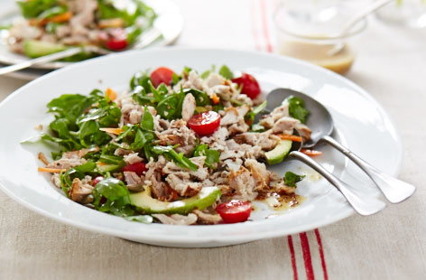 Leftover pork salad with honey dressing