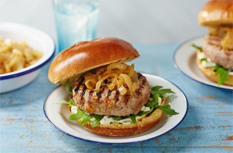 Pork and pear burger with sticky onions