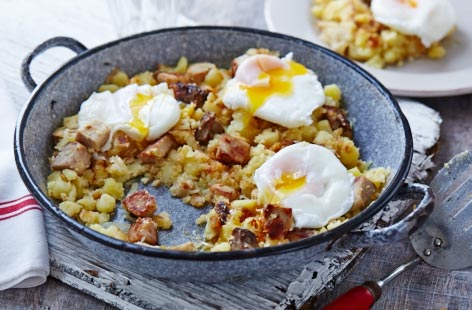 Pork and potato hash with poached eggs
