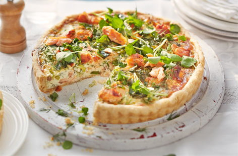 Salmon and spring onion tart