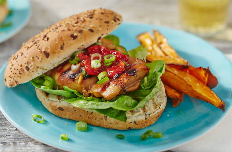 Korean BBQ chicken burgers
