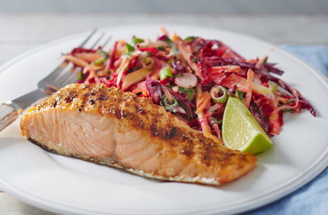 Jerk salmon with tangy mango slaw