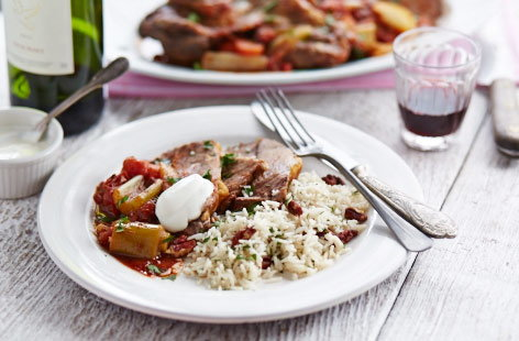 Spicy lamb with herb and nut rice