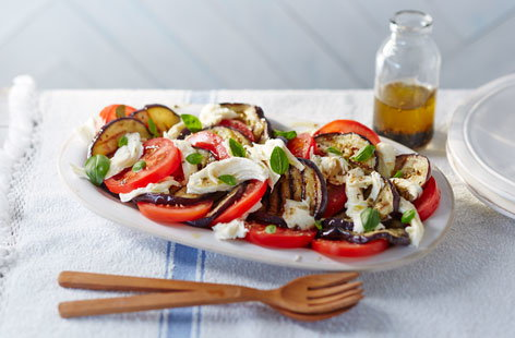 Barbecued aubergine, mozzarella and tomato salad