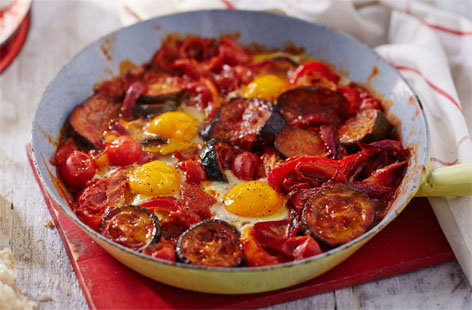 One pan ratatouille eggs