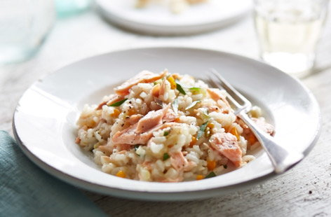 Leftover fennel and salmon risotto