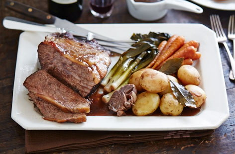 Pot-roasted beef in red wine