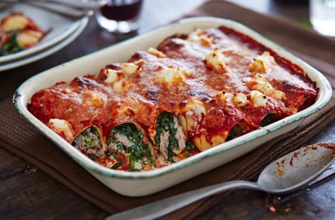 Leftover beef and spinach cannelloni