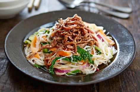 Leftover warm teriyaki beef salad