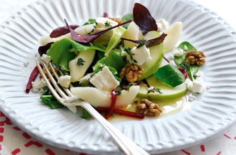 Apple, pear  and walnut salad