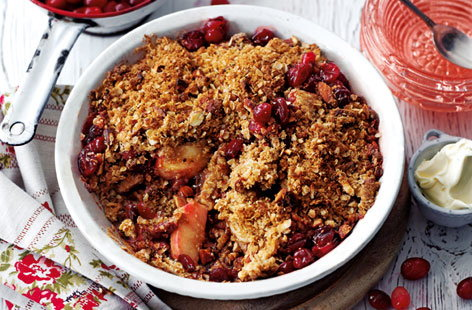 Apple and cranberry Brown Betty with almond crumbs