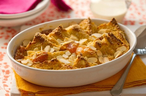 Apricot and almond bread and butter pudding 1 (t)