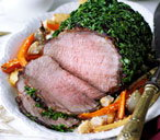 Asian roast beef with sesame root veg