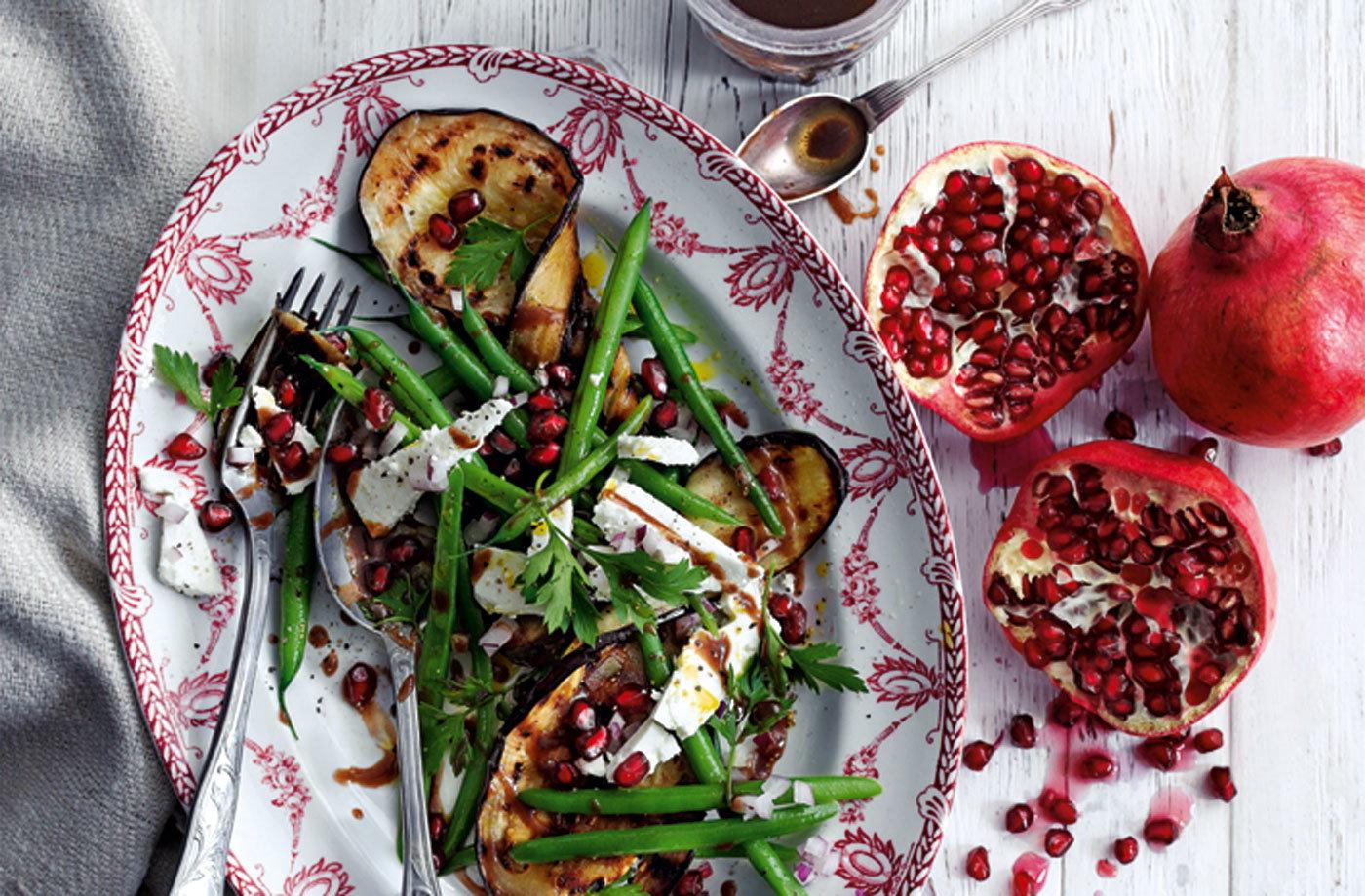 Grilled Eggplant With Pomegranate Vinaigrette Recipes — Dishmaps