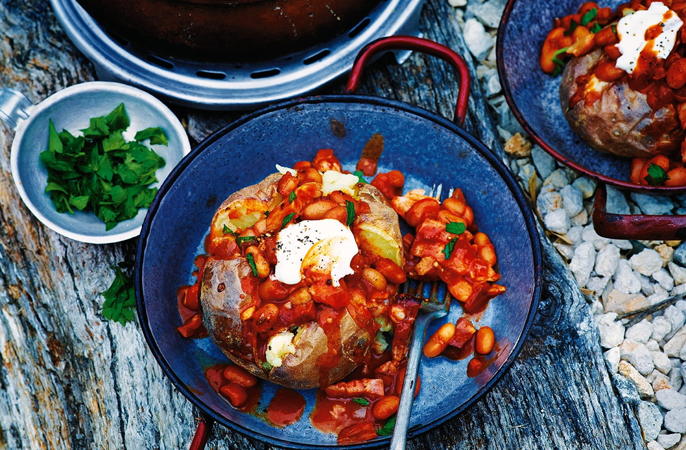 Smoky baked beans with jacket potatoes