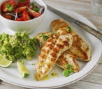 Barbequed chicken with guacamole