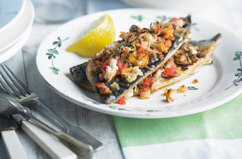 Bacon and sage stuffed mackerel