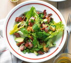 Bacon and avocado salad with Parmesan croutons
