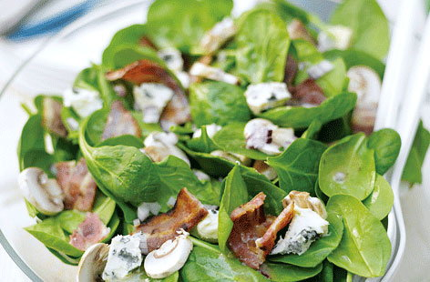 Bacon mushroom and basil salad HERO