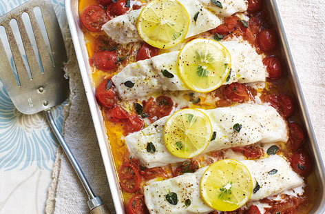 Baked fish with tomatoe and herbs HERO