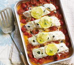 Baked fish with tomato and herbs