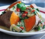 Baked sweet potatoes with Thai curry sauce