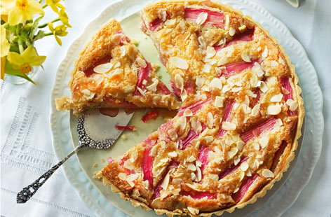 Bakewell tart with rhubarb and zesty custard HERO