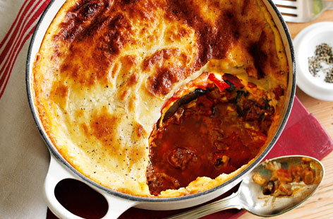 Beef moussaka with tomatoes HERO