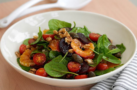 Beetroot and satsuma salad with caper berry dressing