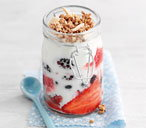 Berry and yogurt granola pots