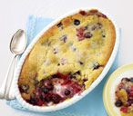 Berry slump with clotted cream