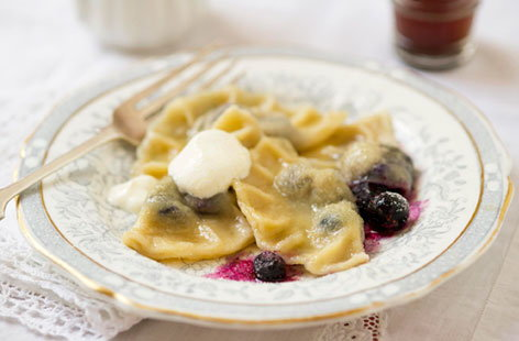 Blueberry pierogies