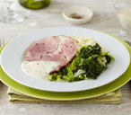 Ham and cabbage with mustard sauce