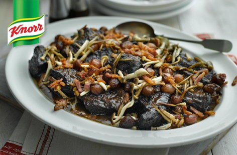 Boeuf bourguignon with wild mushrooms