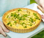 Broad bean, artichoke and Parmesan tart