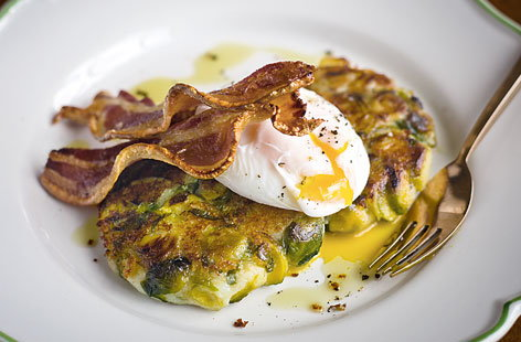Bubble and squeak cakes with brussels sprouts