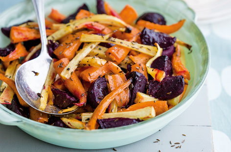 Roasted beetroot, parsnip and carrots