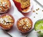Carrot, apple and chia seed muffins