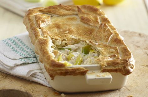 Chicken, leek and lemon pie