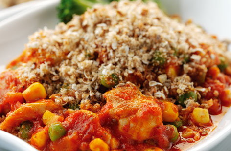 Chicken and tomato crumble