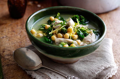 Chickpea, kale and lemon chicken soup