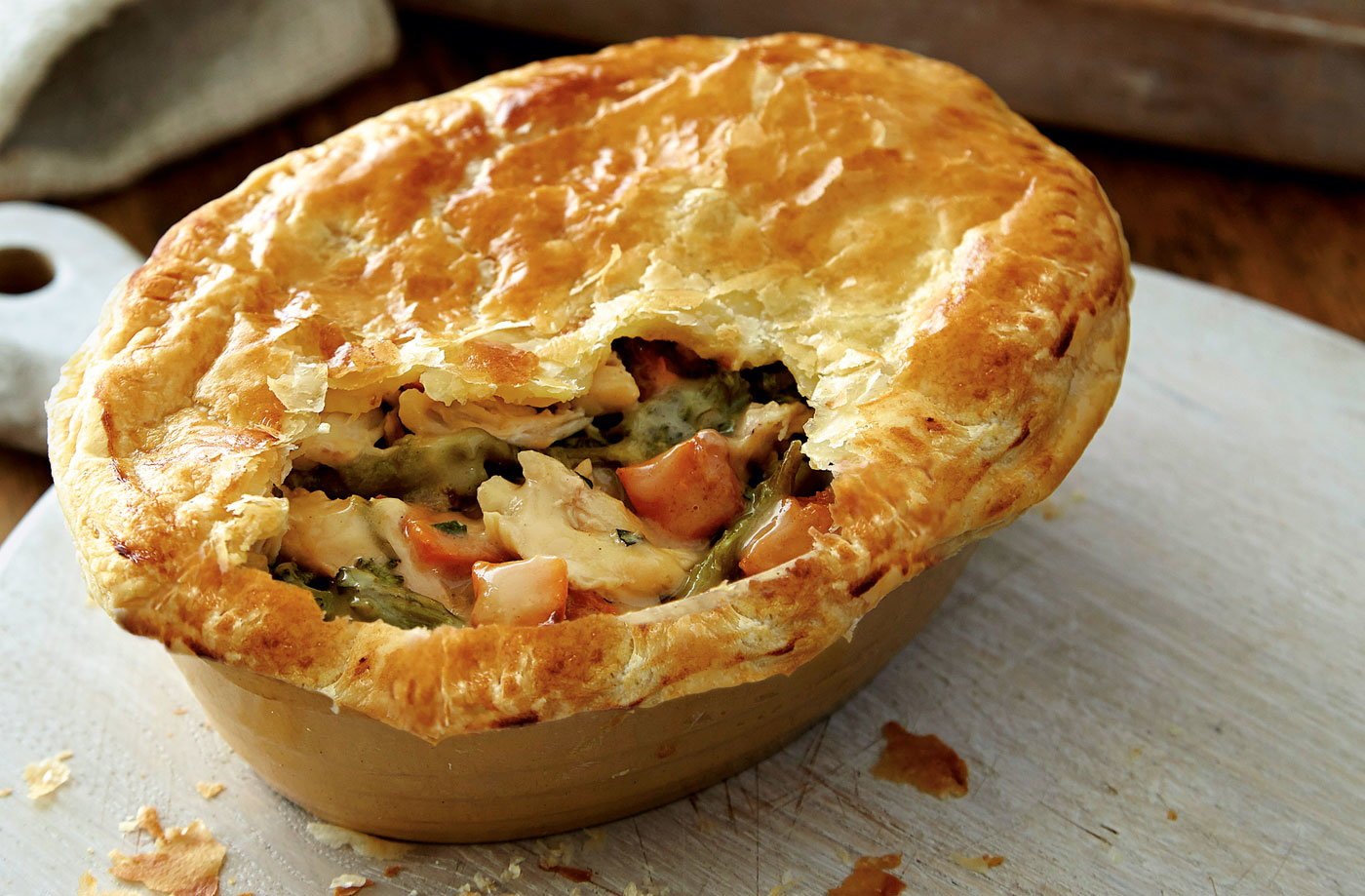 This delicious roast chicken pie is packed with broccoli, butternut ...